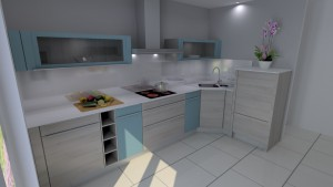 Vue 3D Cuisine contemporaine colorée sur-mesure - G Viaud - Landevieille - Remaud Menuiserie Saint Gilles croix de Vie
