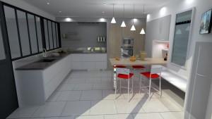Vue 3D Cuisine sur-mesure avec verriere - G Viaud - Landevieille - Remaud Menuiserie Saint Gilles croix de Vie